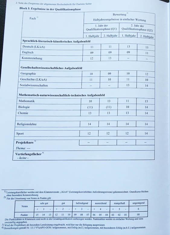 MyPupil Nachhilfe Gummersbach Charlotte - Zeugnis