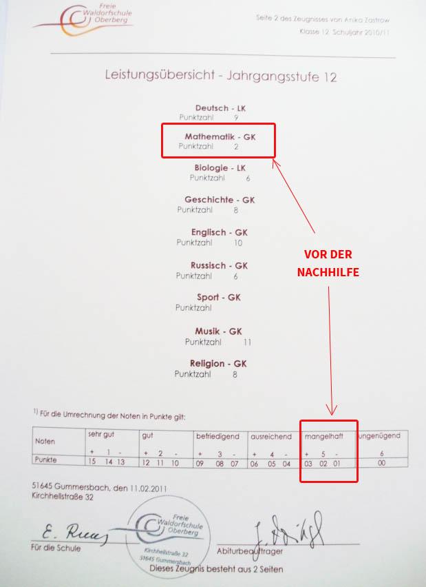 MyPupil Nachhilfe Gummersbach Annika - Abiturzeugnis 1